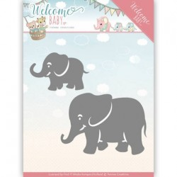 (YCD10138)Dies - Yvonne Creations - Welcome Baby - Little Elephants