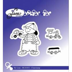 (BLS1032)By Lene Boy with Train Clearstamps