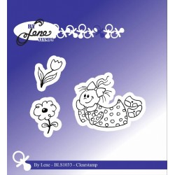 (BLS1033)By Lene Girl with Flowers Clearstamps