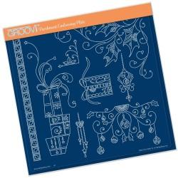 (GRO-CH-41008-15)Groovi Plate A4 TINA'S CHRISTMAS PRESENTS & HOLLY