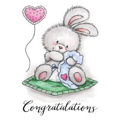(CL517)Wild Rose Studio`s A7 stamp set Baby Bunny