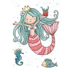 (CL520)Wild Rose Studio`s A7 stamp set Mermaid Birthday