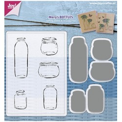 (6004/0030)Clear stamp / Stencil set Mery's Bottles