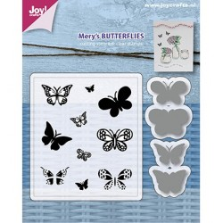 (6004/0032)Clear stamp / Stencil set Mery's Butterflies