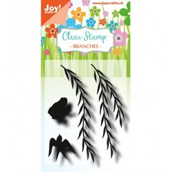 (6410/0491)Clear stamp  Branches with frog and swallow