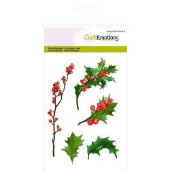 (1292)CraftEmotions clearstamps A6 - berry twigs and holly leaves