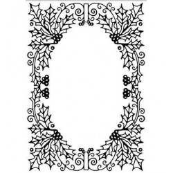 (HSFC010)Embossing Folder Christmas Holly oval frame