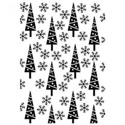 (HSFC011)Embossing Folder Christmas background Pine-trees and snowflakes