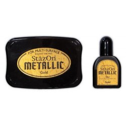 Stamp ink StazOn metallic gold