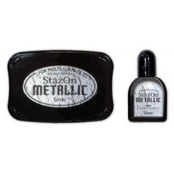 Stamp ink StazOn metallic silver