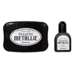 Stamp ink StazOn metallic platinum