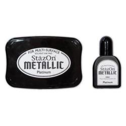 Stamp ink StazOn metallic platinum