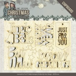 (ADCB1002)Chipboard - Amy Design - Christmas Wishes - Text