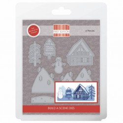 (FEDIE249)First Edition Christmas Die - Build A Scene Log Cabin