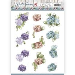 (SB10302)3D Pushout - Precious Marieke - Winter Flowers - Roses