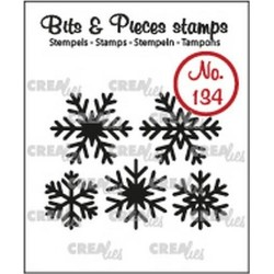 (CLBP134)Crealies Clearstamp Bits & Pieces 5x snowflakes solid