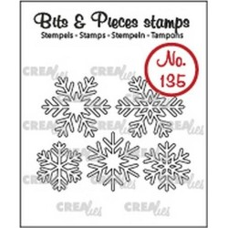 (CLBP135)Crealies Clearstamp Bits & Pieces 5x snowflakes outline
