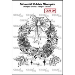 (CLRS09)Crealies Mounted Rubber Stampzz no. 9 wreath