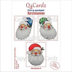 Q4Cardz Prints  Kerstmannen Aquarelpapier