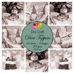(ETL017)Dixi Craft Toppers Gnome & Snowman Brown