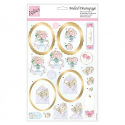 (ANT 169888)Anita's Foiled Decoupage Roses At Tea Time