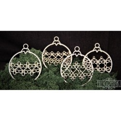 (XMAS_101)Filigranki Laser Cut Chipboards CHRISTMAS LACE BALLS set 4 pcs