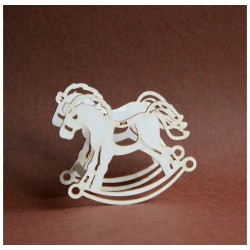 (3D_KONIK)Filigranki Laser Cut Chipboards 3D rocking horse