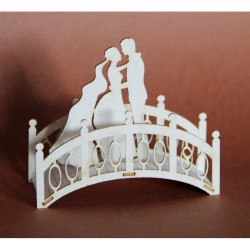 (3D_PARA_MOSTEK)Filigranki Laser Cut Chipboards 3D wedding couple on a bridge