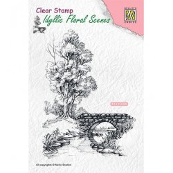 (IFS011)Nellie's Choice Clear Stamp idyllic floral scene Scene with stream and bridge