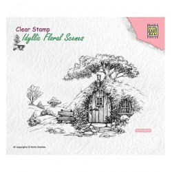 (IFS012)Nellie's Choice Clear Stamp idyllic floral scene Scene with old house
