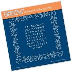 (GRO-PA-41124-03)Groovi Plate A5 JOSIE'S JOSIE'S FLORAL FRAME & ALPHABET