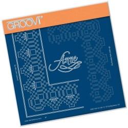 (GRO-GG-41138-12)Groovi Grid Piercing Plate ANNE LACE FRAME CORNER...