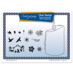 (STA-CH-10550-A5)Claritystamp clear stamp CANDLE OUTLINE + MASK