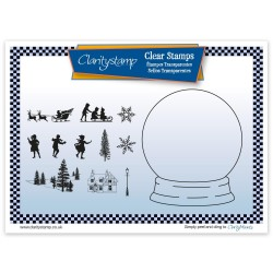 (STA-CH-10548-A5)Claritystamp clear stamp SNOW GLOBE + MASK