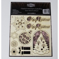 (ZESTAW_003)Filigranki Laser Cut Chipboards CHRISTMAS SET 9pcs