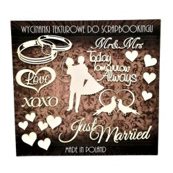 (ZESTAW_023)Filigranki Laser Cut Chipboards JUST MARRIED set 18pcs