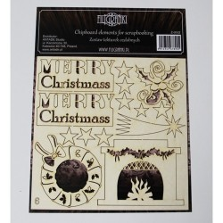 (ZESTAW_006)Filigranki Laser Cut Chipboards MERRY CHRISTMAS SET 14 pcs