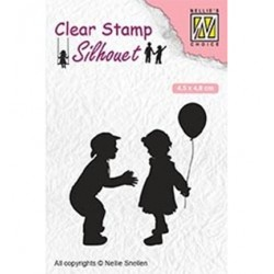 (SIL046)Nellie`s Choice Clearstamp - Children with balloon