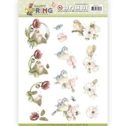 (SB10327)3D Pushout - Precious Marieke - Happy Spring - Happy Birds