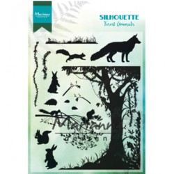 (CS1021)Clear stamp Silhouette Forest Animals