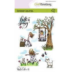 (1603)CraftEmotions clearstamps A6 - Kaat en Odey 3 Spring Carla Creaties
