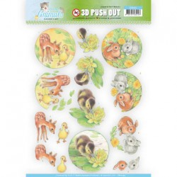 (SB10335)3D Pushout - Jeanine's Art - Young Animals - Ducklings and Rabbits