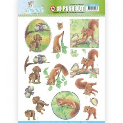 (SB10336)3D Pushout - Jeanine's Art - Young Animals - In the Forest