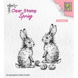 (SPCS006)Nellie`s Choice Clearstamp - Spring- Two hares
