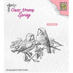 (SPCS011)Nellie`s Choice Clearstamp - Spring- Two birds