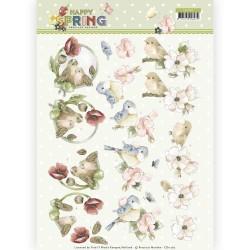 (CD11262)3D Knipvel - Precious Marieke - Happy Spring - Happy Birds