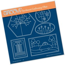 (GRO-PA-41159-03)Groovi Plate A5 TINA'S FUNKY BOW TIE & BUBBLE CAR