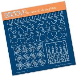 (GRO-PA-41157-03)Groovi Plate A5 TINA'S FUNKY STARS & CANDLES