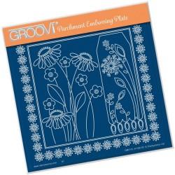 (GRO-FL-41180-03)Groovi Plate A5 TINA'S DAISY FRAME & DANDELION