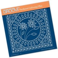 (GRO-FL-41179-03)Groovi Plate A5 TINA'S DANDELION & FLORAL FRAMES